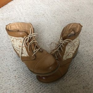 XOXO Tan Boots with White Lace
